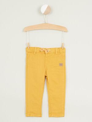 Pantalon droit en coton jaune moutarde garcon