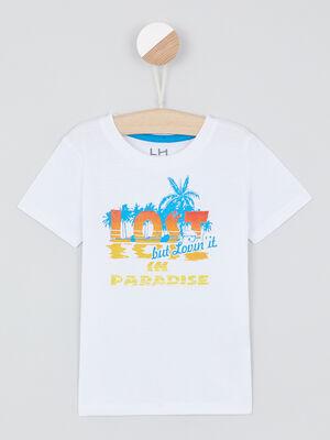 T shirt avec imprime place blanc garcon