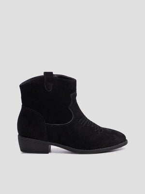 Bottines zippees western noir fille