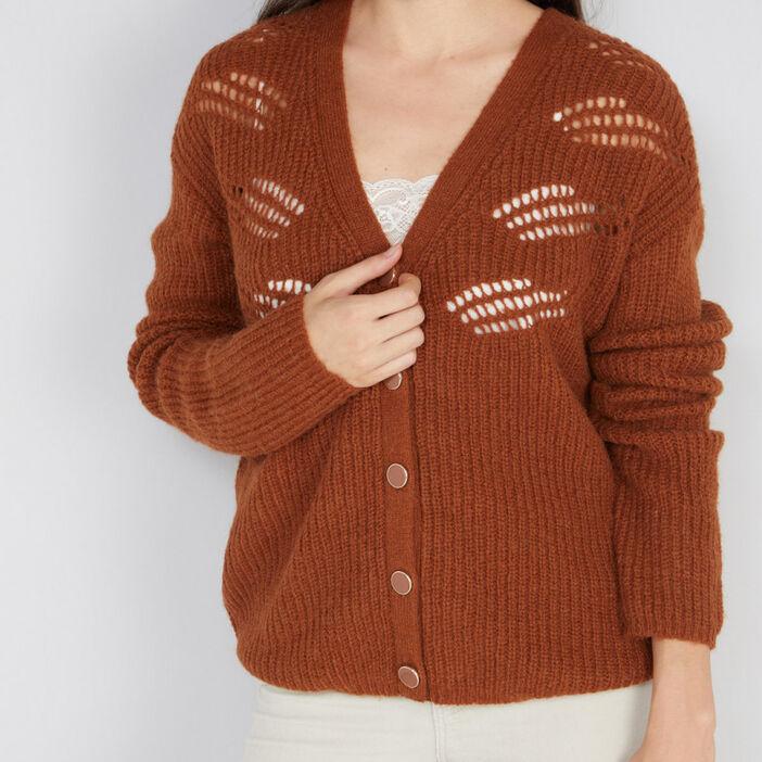 Cardigan laine mélangée motifs ajourés femme marron clair