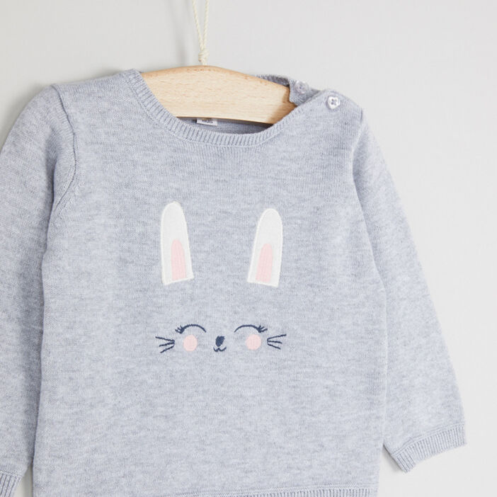 Pull col rond lapin brodé fille gris