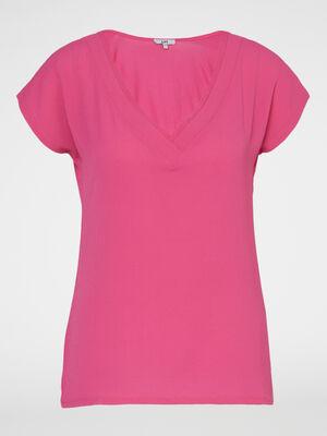Robe a bretelles unie rose fushia femme