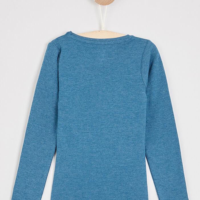 T-shirt uni en coton fille bleu canard