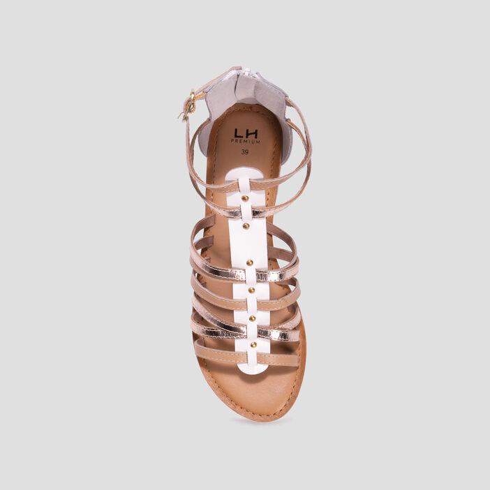 Sandales spartiates en cuir femme blanc
