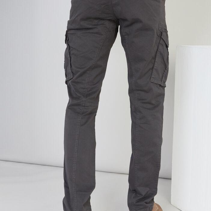 Pantalon droit multipoches homme gris foncé