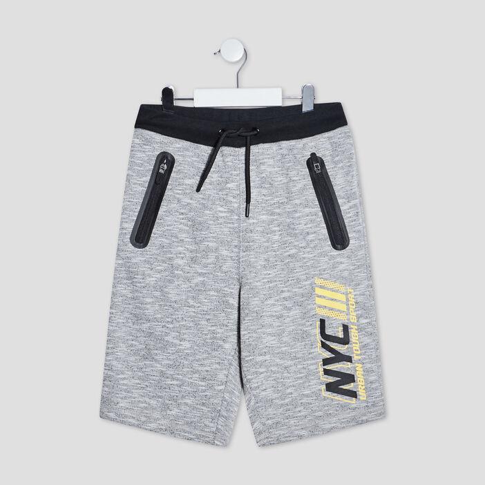 Bermuda droit à poches zippées garçon gris