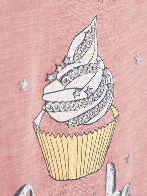 T shirt avec imprime cupcake rose fille