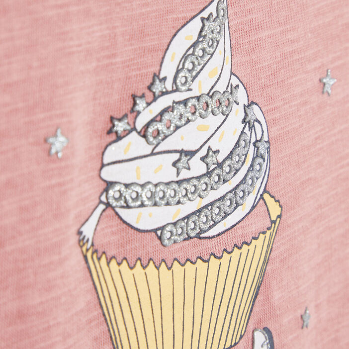 T-shirt avec imprimé cupcake fille rose
