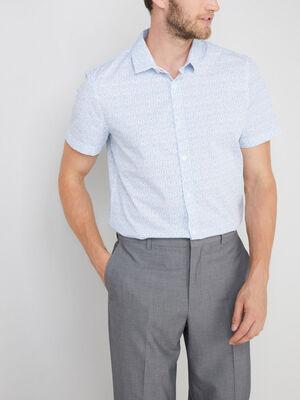 Chemise slim en coton imprime blanc homme