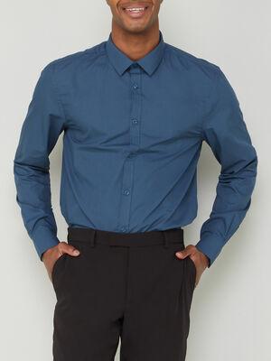Chemise slim unie manches longues bleu homme
