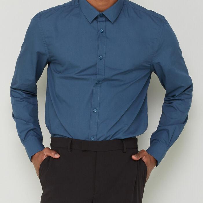 Chemise slim unie manches longues homme bleu