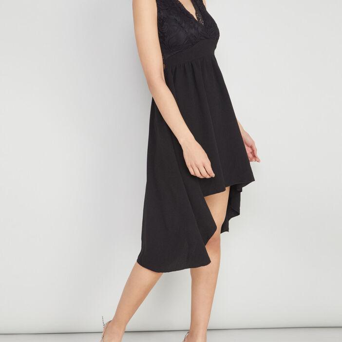 Robe décolleté dentelle asymétrique femme noir