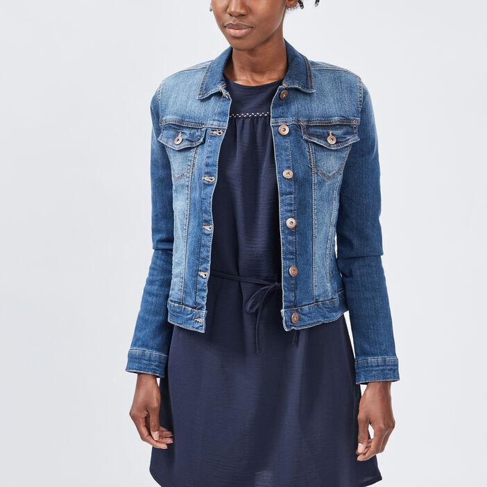 Veste droite en jean femme denim stone