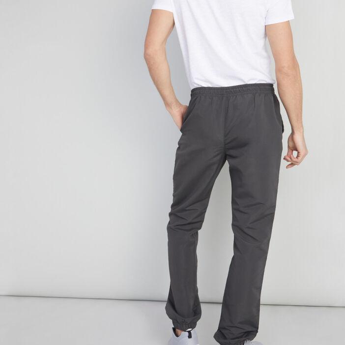 Jogging uni toile enduite homme gris foncé