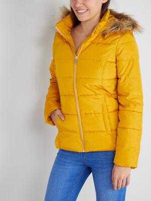 Doudoune cintree a capuche fourree jaune moutarde femme