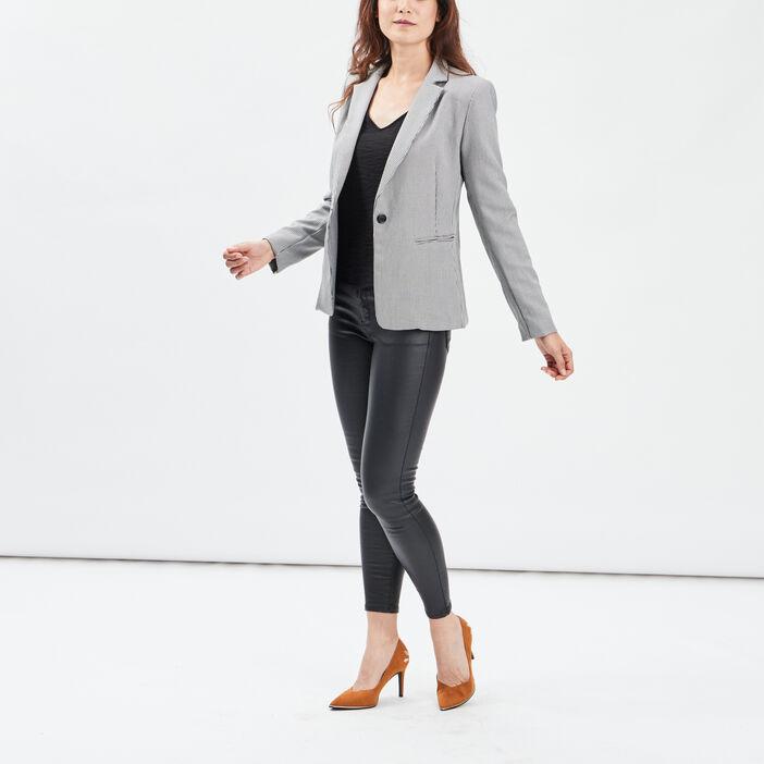 Veste droite boutonnée femme ecru