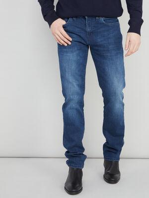 Jean straight a plis denim blue black homme