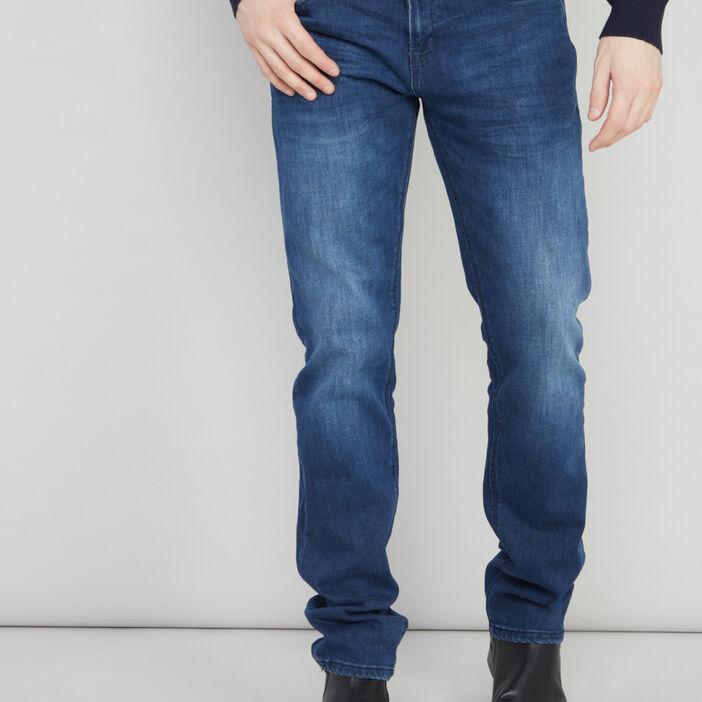 Jean straight à plis homme denim blue black