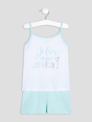 Ensemble pyjama 2 pieces bleu turquoise fille