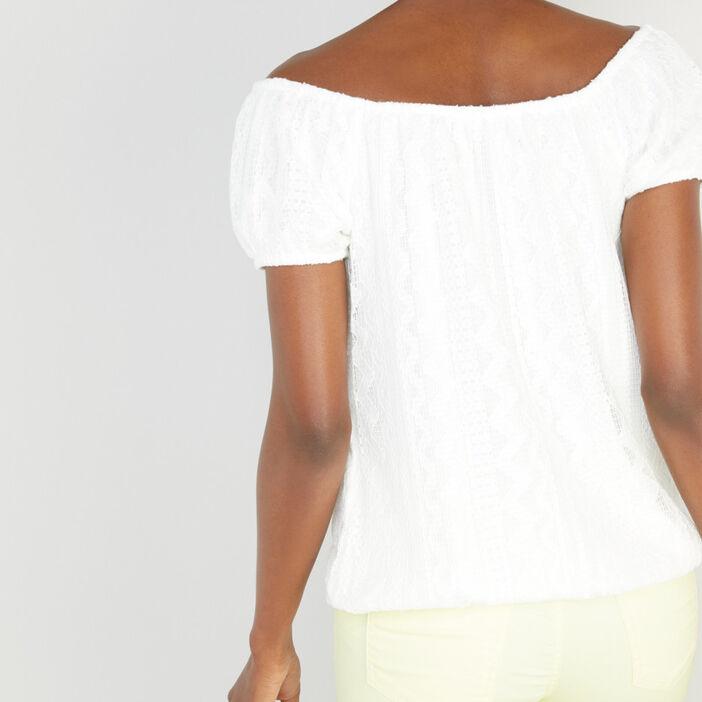 T-shirt motifs géométriques col bardot femme ecru