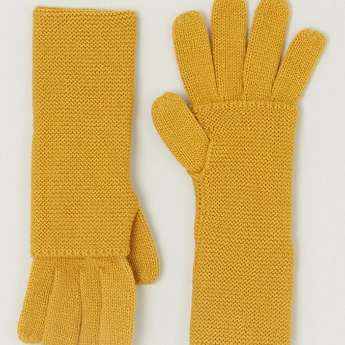 Paire de longs gants mixte jaune moutarde