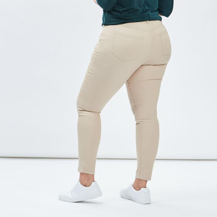 Pantalon slim femme grande taille beige