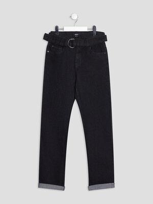 Jeans boyfriend ceinture denim noir fille