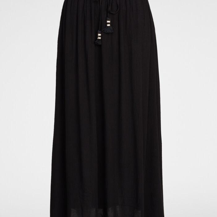 Jupe longue fluide unie femme noir
