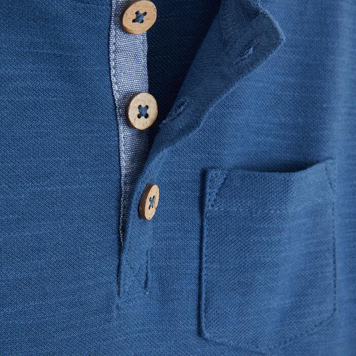T-shirt uni col rond boutonné garçon bleu gris