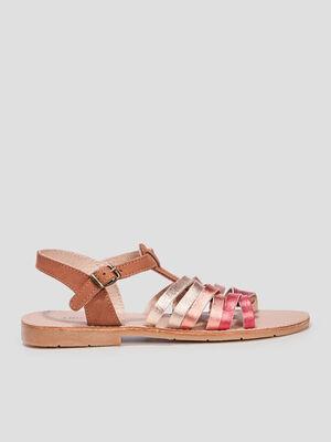 Sandales plates en cuir marron fille