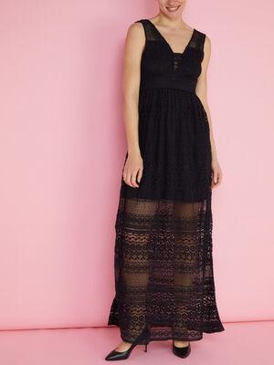 Robe longue cintree dentelle noir femme