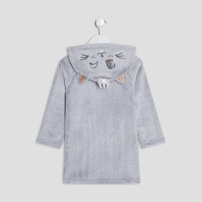 Peignoir à capuche fille gris