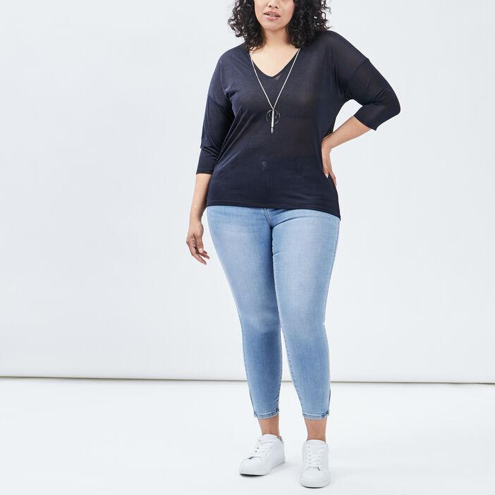 T-shirt manches 3/4 femme grande taille bleu marine