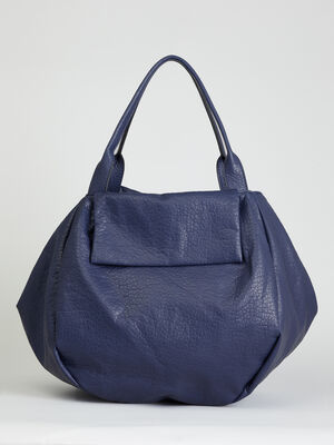 Sac shopper souple aspect graine bleu femme