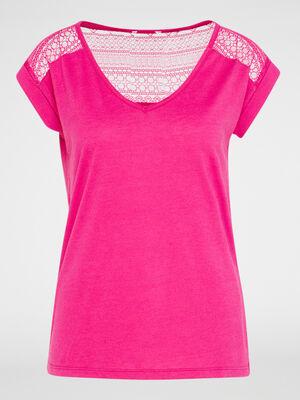 T shirt bimatiere manches courtes rose fushia femme