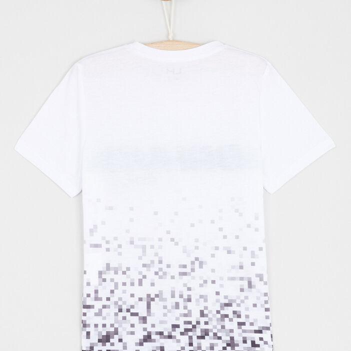 T-shirt col rond imprimé pixel garçon blanc