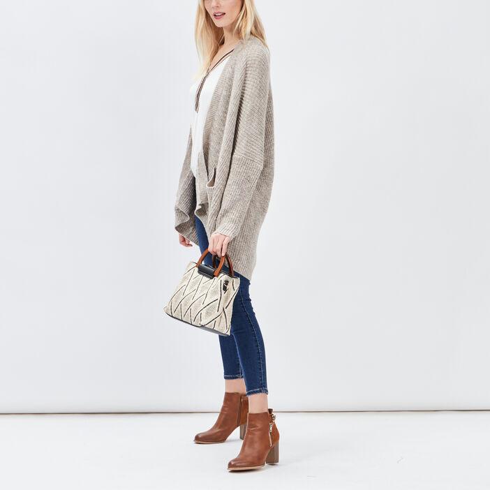 Gilet long avec 2 poches femme beige