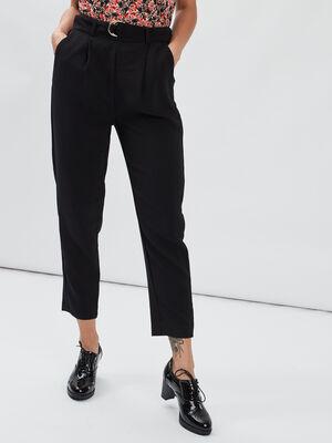 Pantalon ajuste a pinces noir femme