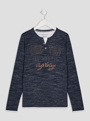 T shirt manches longues Creeks bleu garcon