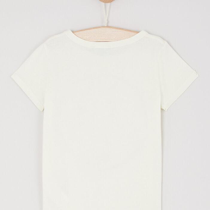 T-shirt en coton avec imprimé fille jaune