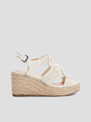Sandales compensees blanc femme
