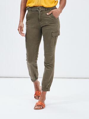 Pantalon battle taille haute vert kaki femme