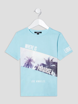 T shirt Liberto bleu turquoise garcon