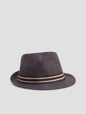 Chapeau avec bande gris fonce garcon