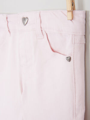Pantalon skinny avec bouton coeur rose clair fille