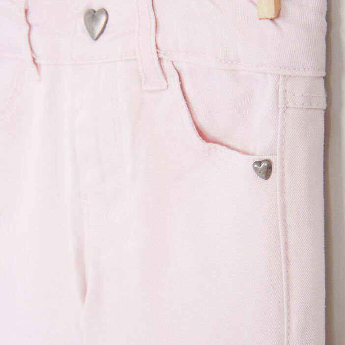 Pantalon skinny avec bouton cœur fille rose clair