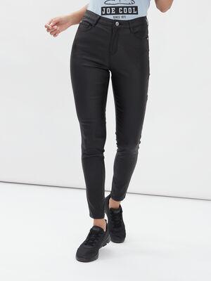 Pantalon enduit skinny taille haute noir femme