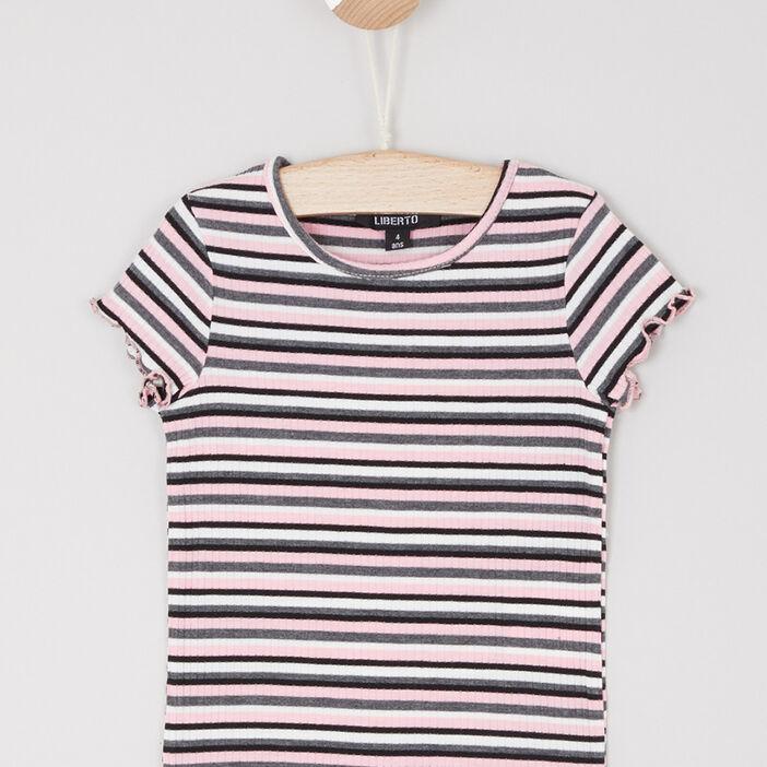T-shirt manches courtes à rayures fille noir