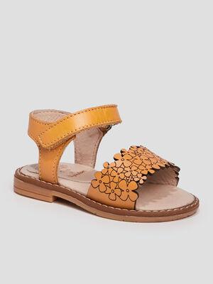 Sandales en cuir jaune bebef