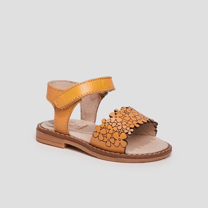 Sandales en cuir bébé fille jaune